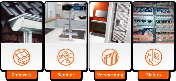 Zinkwerk, Sanitair, Verwarming en Elektra